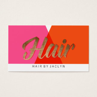 Pink Red Orange Gold Color Block Retro Chic Hair Business Card