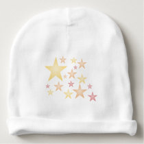 Pink/red/orange stars baby beanie