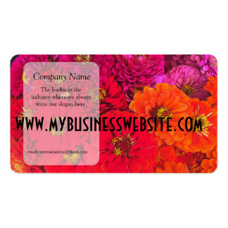 Pink Red Orange Zinnias Double-Sided Standard Business Cards (Pack Of 100)