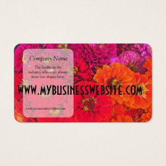 Pink Red Orange Zinnias Business Card