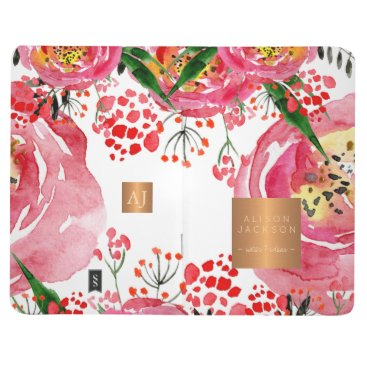 Professional Business Pink  red peonies gold copper metallic monogram journal