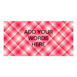 Pink/Red plaid background Custom Photo Card