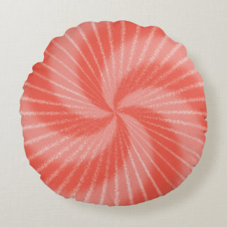 Pink Red Psychedelic Tie Dye Swirl Round Pillow