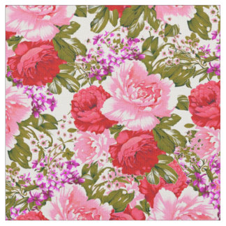 Pink red romantic vintage roses bohemian floral fabric