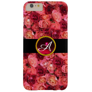 PINK RED ROSE FIELD ,RED RUBY GEMSTONE MONOGRAM BARELY THERE iPhone 6 PLUS CASE