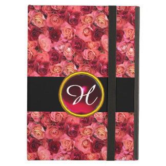 PINK RED ROSE FIELD ,RED RUBY GEMSTONE MONOGRAM COVER FOR iPad AIR
