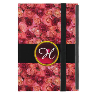 PINK RED ROSE FIELD ,RED RUBY GEMSTONE MONOGRAM COVER FOR iPad MINI