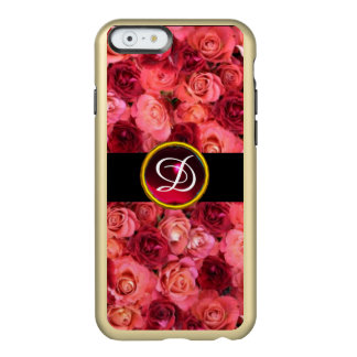 PINK RED ROSE FIELD ,RED RUBY GEMSTONE MONOGRAM INCIPIO FEATHER SHINE iPhone 6 CASE