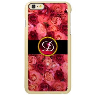 PINK RED ROSE FIELD ,RED RUBY GEMSTONE MONOGRAM INCIPIO FEATHER SHINE iPhone 6 PLUS CASE