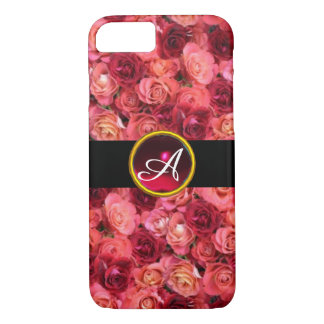 PINK RED ROSE FIELD ,RED RUBY GEMSTONE MONOGRAM iPhone 7 CASE