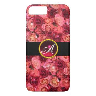 PINK RED ROSE FIELD ,RED RUBY GEMSTONE MONOGRAM iPhone 7 PLUS CASE