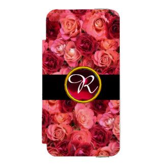 PINK RED ROSE FIELD ,RED RUBY GEMSTONE MONOGRAM WALLET CASE FOR iPhone SE/5/5s
