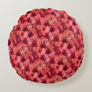 PINK RED ROSE FIELD ROUND PILLOW