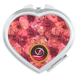 PINK RED ROSE FIELD,RUBY GEMSTONE MONOGRAM Heart Compact Mirror