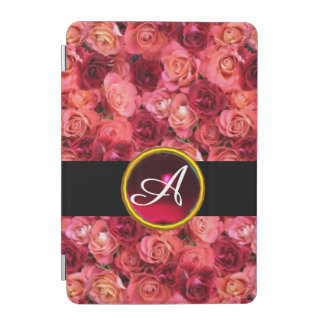 PINK RED ROSE FIELD ,RUBY GEMSTONE MONOGRAM iPad MINI COVER