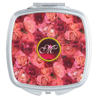 PINK RED ROSE FIELD,RUBY GEMSTONE MONOGRAM MIRROR FOR MAKEUP