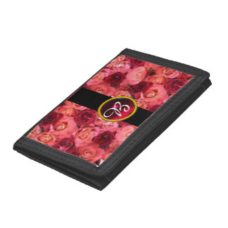 PINK RED ROSE FIELD ,RUBY GEMSTONE MONOGRAM TRIFOLD WALLETS