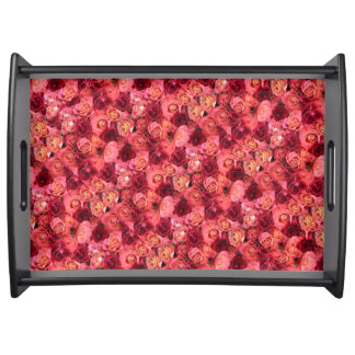 PINK RED ROSE FIELD SERVING TRAY