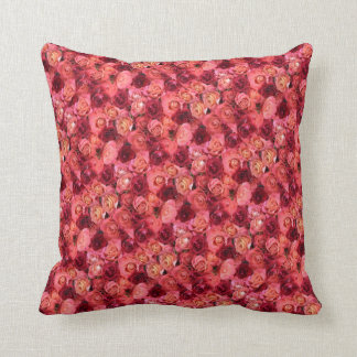 PINK RED ROSE FIELD THROW PILLOW