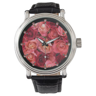 PINK RED ROSE FIELD WATCH