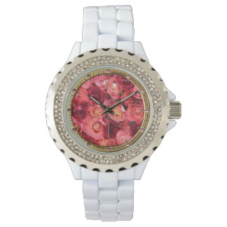 PINK RED ROSE FIELD WRIST WATCHES