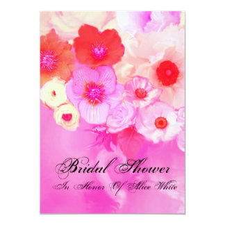 PINK RED  ROSES AND ANEMONE FLOWERS BRIDAL SHOWER CARD