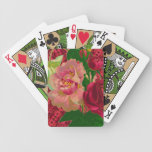 Pink & Red Roses Bicycle Poker Cards