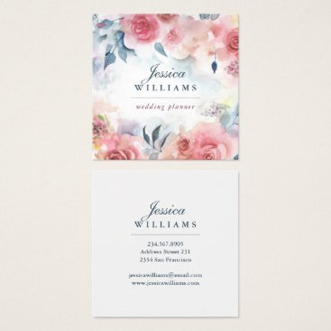 Professional Business Pink Red Roses Boho Floral Business Card