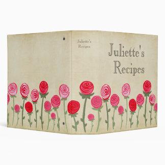 Pink Red Roses Recipe Book Cooking Binder