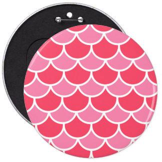 Pink red scallop pattern pinback button