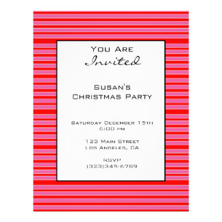 """Pink Red Striped Christmas 8.5"""" X 11"""" Flyer"""