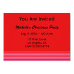 Pink Red Striped Christmas 5x7 Paper Invitation Card