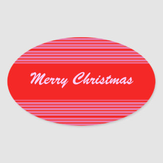 Pink Red Striped Christmas Oval Stickers