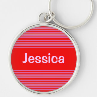Pink Red Striped Name Keychain