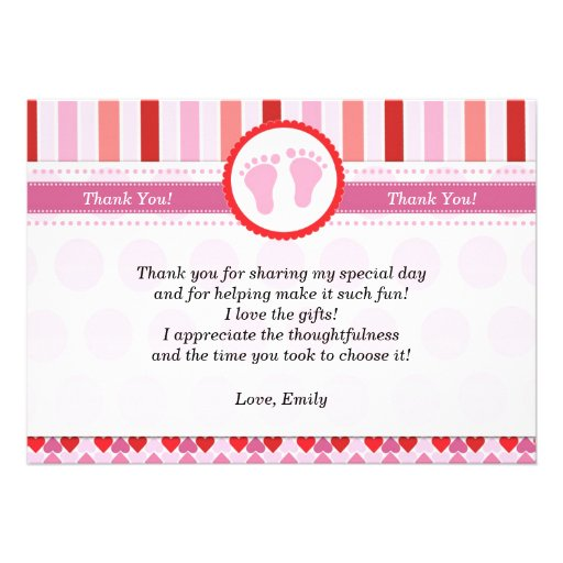 Pink Red Stripes Baby Shower Thank You Card