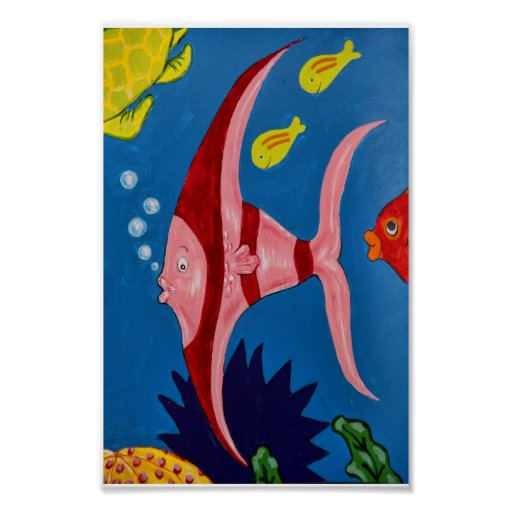 Pink & Red Tropical Fish Poster
