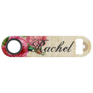 Pink & Red Vintage Roses Floral & Sheet Music Bar Key