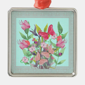 Pink & Red Watercolor Flowers & Butterflies Metal Ornament