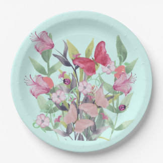 Pink & Red Watercolor Flowers & Butterflies Paper Plate