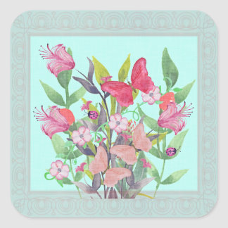 Pink & Red Watercolor Flowers & Butterflies Square Sticker