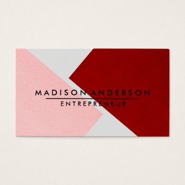 Professional Business Pink Red & White Modern Finance Consultant Business Card