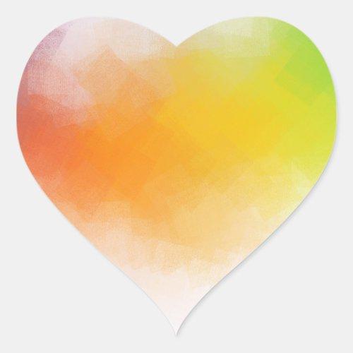Pink Red Yellow Blue Green Modern Abstract Art Heart Sticker