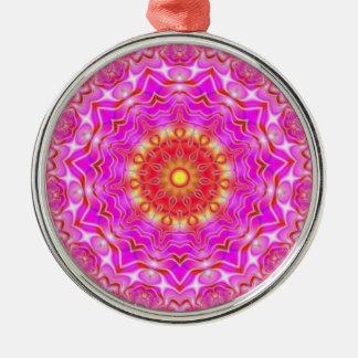 Pink Red Yellow Fractal Geometry Mandala Ornament