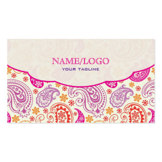 Pink Red & Yellow Paisley Pattern Design Double-Sided Standard Business Cards (Pack Of 100)
