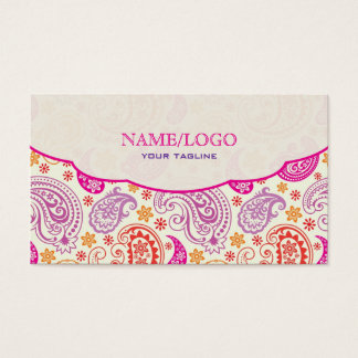 Pink Red & Yellow Paisley Pattern Design Business Card