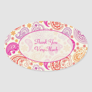 Pink Red & Yellow Paisley Pattern Design Oval Sticker