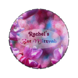 Pink Redbud Blossoms Bat Mitzvah Personalized Candy Tins