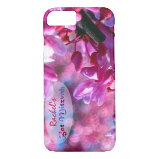 Pink Redbud Blossoms Bat Mitzvah Personalized iPhone 8/7 Case