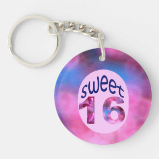 Pink Redbud Blossoms Custom Sweet 16 Double-Sided Round Acrylic Keychain