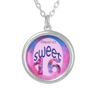 Pink Redbud Blossoms Custom Sweet 16 Round Pendant Necklace